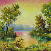 """At daybreak"" oil painting of Siberian artist Ivan Tolstoj"
