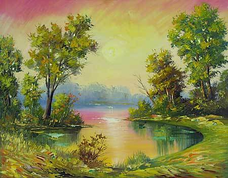 &quot;At daybreak&quot; oil painting of Siberian artist Ivan Tolstoj