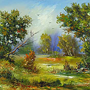 """Windy day"" oil painting of Siberian artist Ivan Tolstoj"