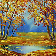 """Golden autumn"" oil painting of Siberian artist Ivan Tolstoj"