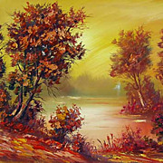 """Autumn forest"" oil painting of Siberian artist Ivan Tolstoj"