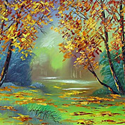 """Autumn fall of the leaves"" oil painting of Siberian artist Ivan Tolstoj"