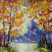 """Autumn on lake"" oil painting of Siberian artist Ivan Tolstoj"