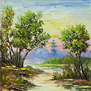 """Cuckoo's stream"" oil painting of Siberian artist Ivan Tolstoj"