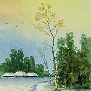"Original watercolor ""Winter path"" of Serebrenikov Vladimir"