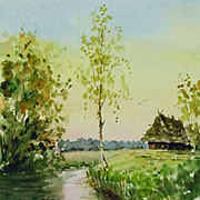"Original watercolor ""Morning on lake"" of Serebrenikov Vladimir"