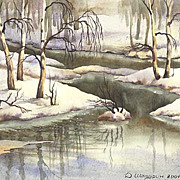 "Original watercolor ""Spring"" of Russian artist"