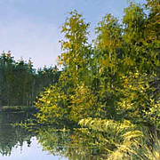 """Quiet lake"" oil painting of D.Levin - Russian traditional school of realistic paint"