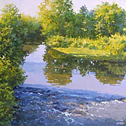 """Forest lake"" oil painting of D.Levin - Russian traditional school of realistic pain"