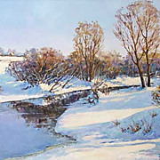 """Christmas Morning"" oil painting of D.Levin - Russian traditional school of realisti"