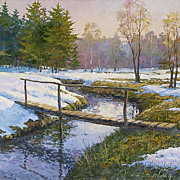 """First snow"" oil painting of D.Levin - Russian traditional school of realistic paint"