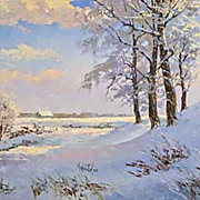"""Frosty Midday"" oil painting of D.Levin - Russian traditional school of realistic pa"