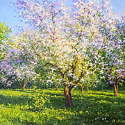 """Blossoming Apple-tree"" oil painting of D.Levin - Russian traditional school of real"