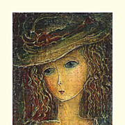 """Girl in a Hat"" of Chkhaidze Omar - L.E. lithography s/n"