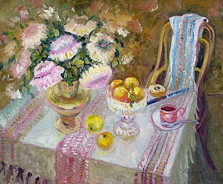 """Summer on dacha"" impressionism oil painting of George Velezhev."