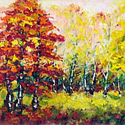 """Paints of autumn"" impressionism oil painting of George Velezhev."