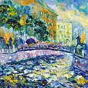 """Bank Bridge in St. Petersburg"" impressionism oil painting of George Velezhev."