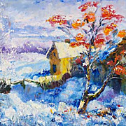 """Mountain ash near  a stream"" impressionism oil painting of George Velezhev."