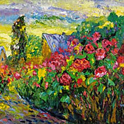 """Street of roses"" impressionism oil painting of George Velezhev."