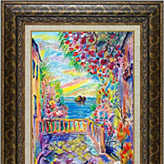 "REDUCED ""Italy�s villa"" of French artist Cleo - original painting in impressionism s"