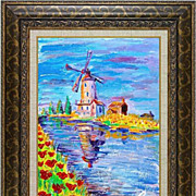 "REDUCED ""Mill"" of French artist Cleo- original painting in impressionism style."
