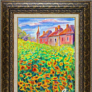 "REDUCED ""Castle behind field of sunflowers"" of French artist Cleo - original paintin"