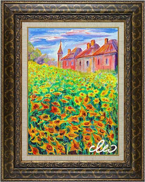 &quot;Castle behind field of sunflowers&quot; of French artist Cleo - original painting in impressionism style.