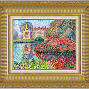 "REDUCED ""English Estate"" in pointillism style - original painting of F.Mathieu."