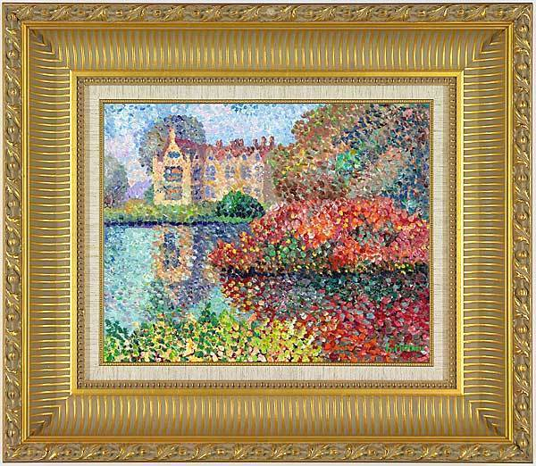 """English Estate"" in pointillism style - original painting of F.Mathieu."
