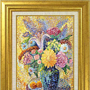 "REDUCED ""Still-life with a White Lily"" of French artist F. Mathieu - original painti"