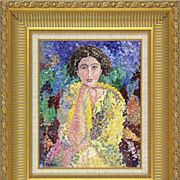 "REDUCED Lovely ""Mademoiselle Lili""  original painting of F.Mathieu in pointillism st"