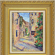 "REDUCED ""Sultry City"" of F. Mathieu - original painting in pointillism style."