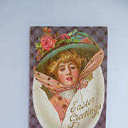 SOLD Easter Postcard -- The Lady in the Egg