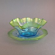 Stevens & Williams art glass finger bowl and plate, green on blue