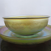L.C. Tiffany Favrile Finger Bowl and Ice Plate