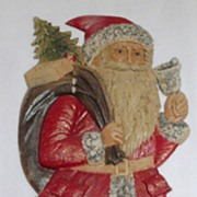 SALE Large Standing Santa with a Bell Nostalgic Christmas Embossed die-cut ~ 1930's Excellent