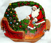 Beistle Honeycomb Santa in Sleigh Christmas Basket � 1920s Nice!