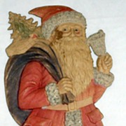 SALE Large Standing Santa with a Bell Nostalgic Christmas Embossed die-cut ~ 1930's German Ver