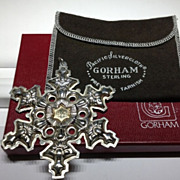SALE Gorham Sterling Silver with Gold Filled 1982 Year mark Snowflake Ornament/Medallion