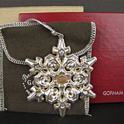 SALE Gorham Sterling Silver with Gold Filled 1984 Year mark Snowflake Ornament/Medallion