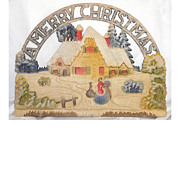 SALE Vintage German die cut A Merry Christmas with Cottage