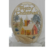 SALE Vintage German die cut Village Church scene Merry Christmas Banner