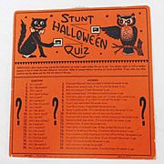 SALE �Stunt Halloween Quiz� Halloween game USA Beistle, HE Luhrs mark