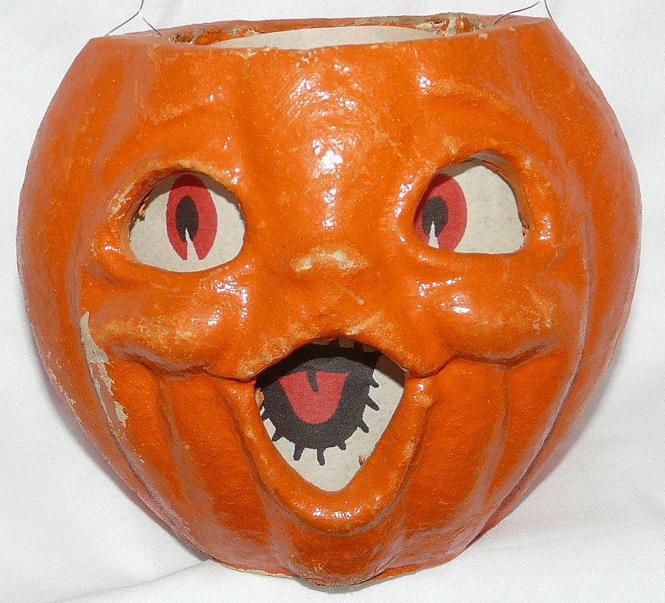 "Vintage large size Paper mache ""egg crate"" Double face Choir boy Jack O' Lantern pumpkin! 1950s"