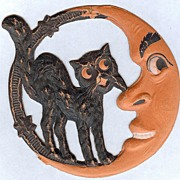 SALE Small Crescent Man in the Moon with Standing Cat Halloween decoration � German 1920s