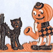 SALE Small Mini sized Cat with Jack O� Lantern Girl playing sax Halloween decoration � German