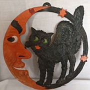 SALE LARGE Crescent Moon and Standing Cat heavily embossed die cut - Germany 1920s