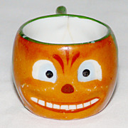 "SALE Porcelain Halloween Pumpkin face child size ""mini"" 1 �"" cup with handle 19"