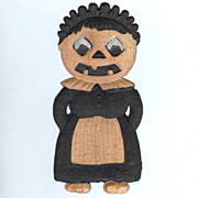 "SALE German Die cut � small girl a ""Maid"" Jack O' Lantern 1920's"