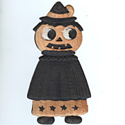 "SALE German Die cut � small caped ""Witch"" Jack O' Lantern 1920's"